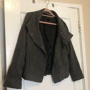 Short Gray Tweed Peacoat